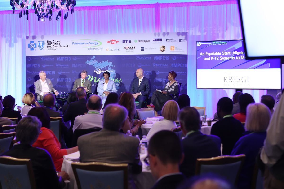 Rip Rapson, president of the Kresge Foundation (second from left), speaks to an audience at the Mackinac Policy Conference about early childhood education in Detroit.