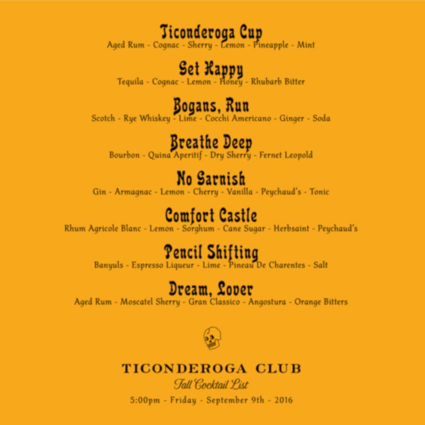 Ticonderoga Club fall cocktails