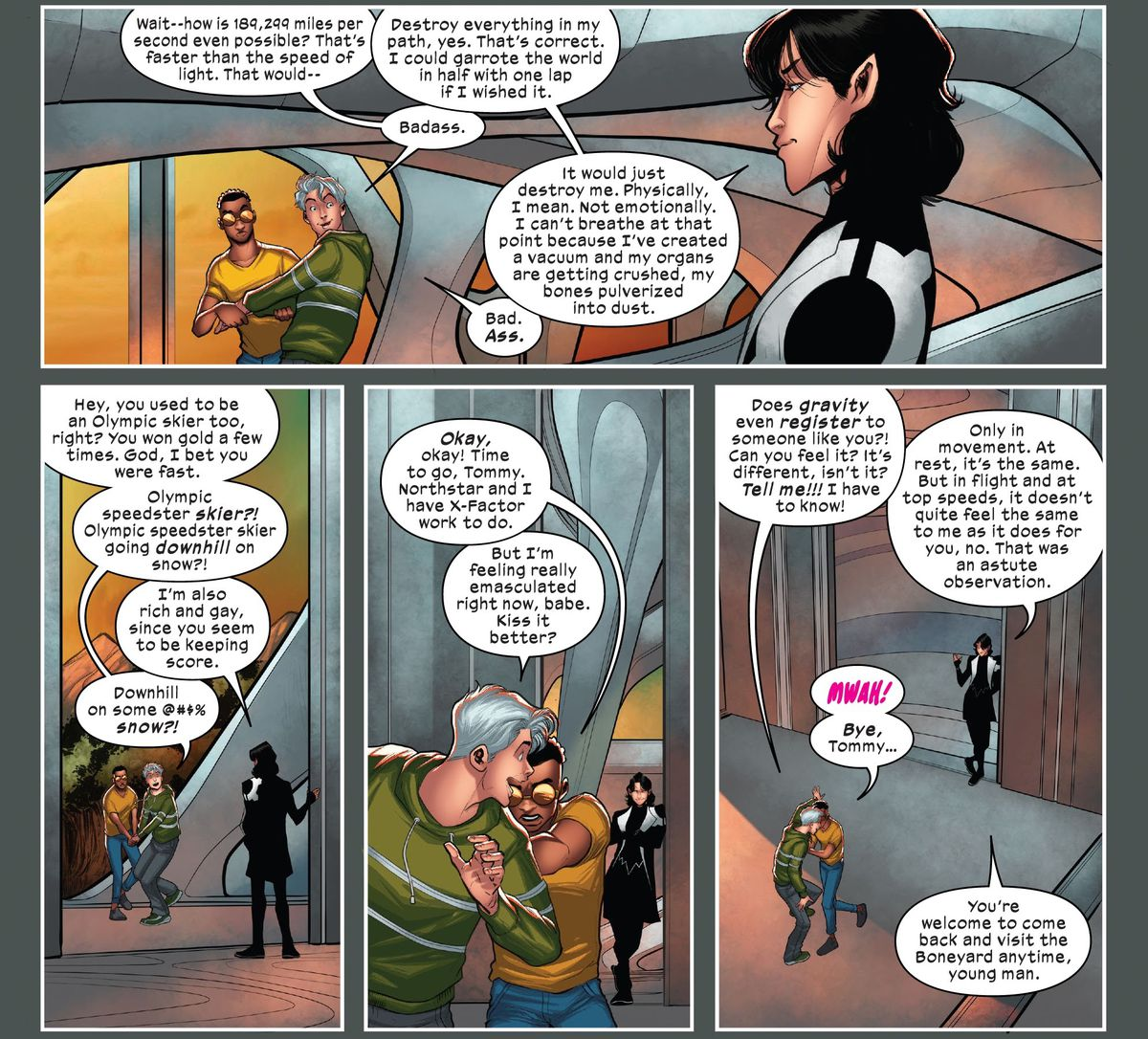 """Prodigy attempts to usher his boyfriend Speed out of X-Factor HQ as Speed peppers Northstar with questions about how fast and cool he is in X-Factor #7. """"I'm also rich and gay, since you seem to be keeping score,"""" Northstar quips."""