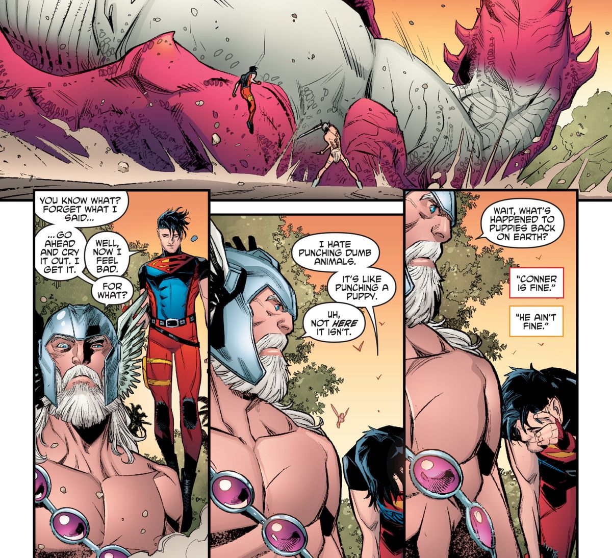 """Superboy punches a large T-rex unconscious, and talks about how he hates punching dumb animals. """"It's like punching a puppy."""" """"Wait, what's happened to puppies back on Earth?"""" asks Warlord, in Young Justice #12, DC Comics (2020)."""