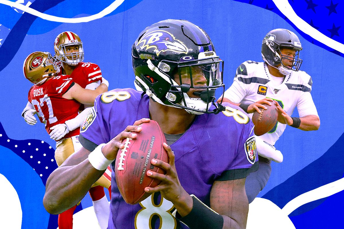 A collage of Lamar Jackson, Russell Wilson, and 2 49ers defenders, on a blue and white background