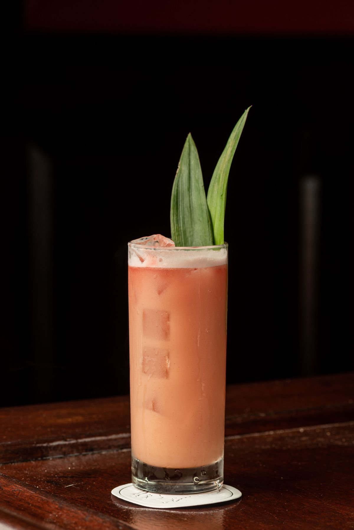 A light pink cocktail with a tall green leaf and slightly foamy top.