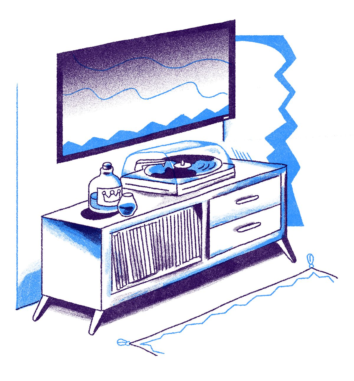 A mid-century console with a decanter of whiskey, a record player, with a flatscreen tv mounted on the wall behind it. Illustration.