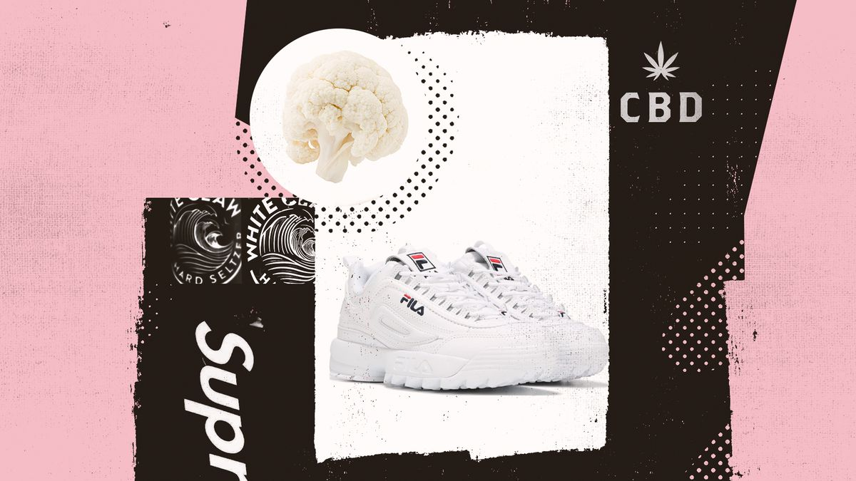 A collage of trendy items including white Fila sneakers, cauliflower, and White Claw.