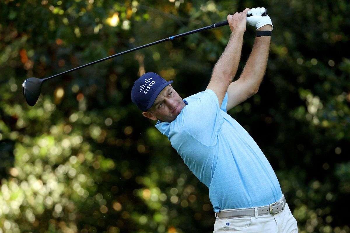 Brendon Todd of the United States plays a shot during a practice round prior to the Masters at Augusta National Golf Club on November 09, 2020 in Augusta, Georgia.