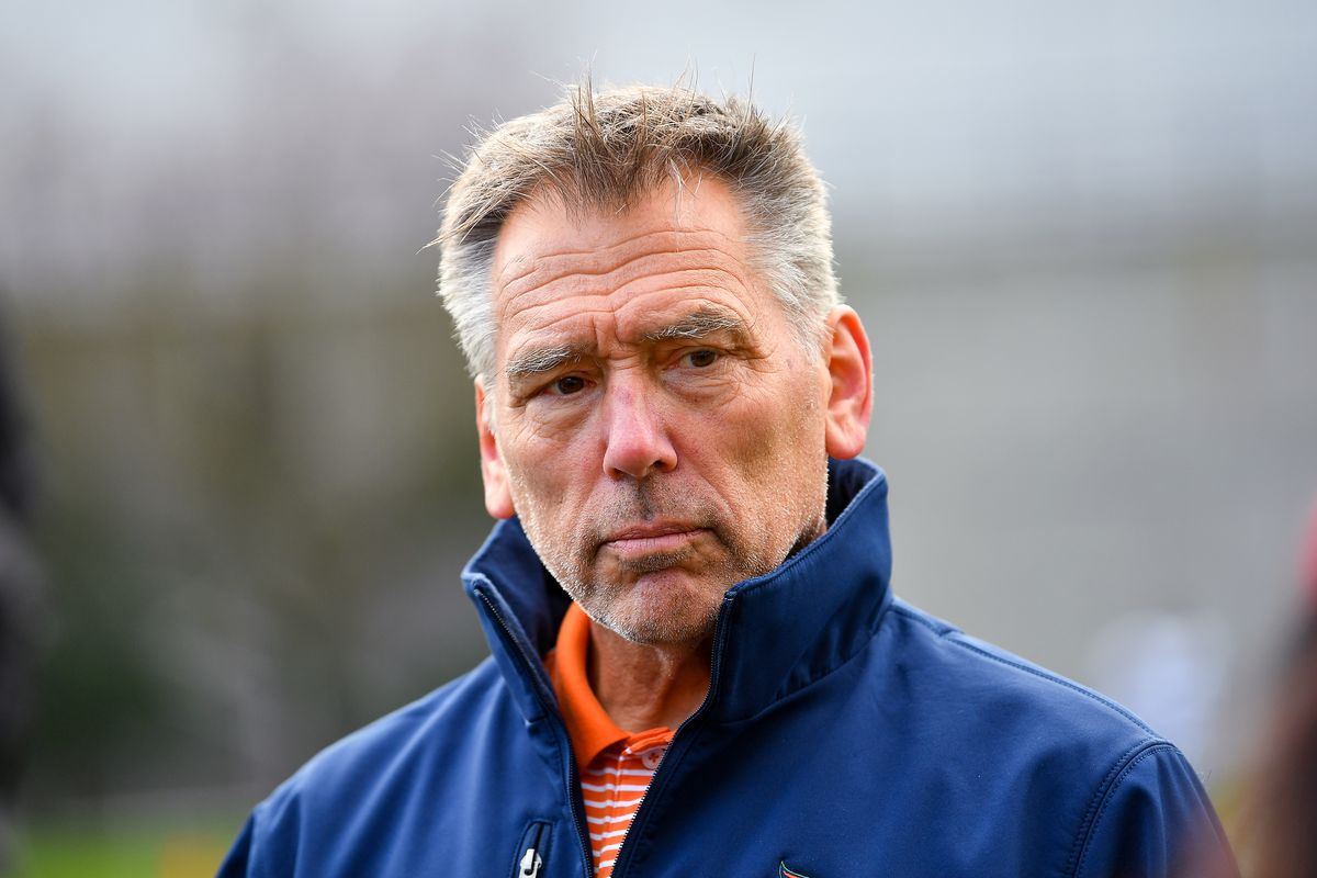 Head coach Jim Zorn of the XFL Seattle Dragons talks to the media after practice at Memorial Stadium on January 27, 2020 in Seattle, Washington.