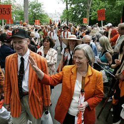 FILE - In this May 31, 2008 file photograph, Princeton University's President Shirley M. Tilghman waves as she marches with some alumni during P-rade in Princeton, N.J. The first woman to serve as president of Princeton University says she'll leave her post at the end of the academic year. Tilghman announced her intentions in an email Saturday, Sept. 22, 2012,  to students, faculty, staff and alumni. She had informed university officials a day earlier.