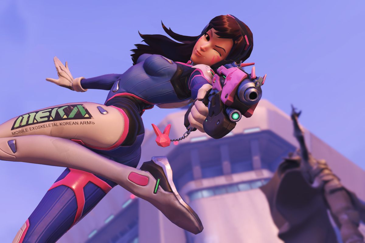 A screenshot of D.Va from Overwatch winking at the camera