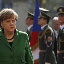 German Chancellor Angela Merkel arrives at the government's headquarters in Prague, Czech Republic, Tuesday, April 3, 2012. Merkel is in Czech Republic on a one-day official visit.