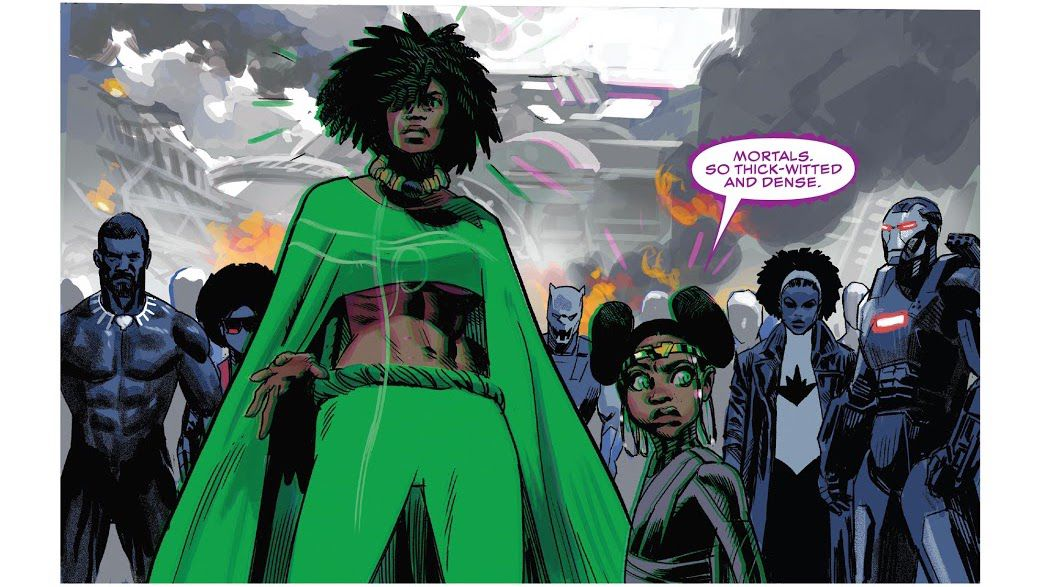 """""""Mortals. So thick-witted and dense."""" Bast says as she and Zenzi are surrounded by earth's Black superheroes in Black Panther #25, Marvel Comics (2021)."""