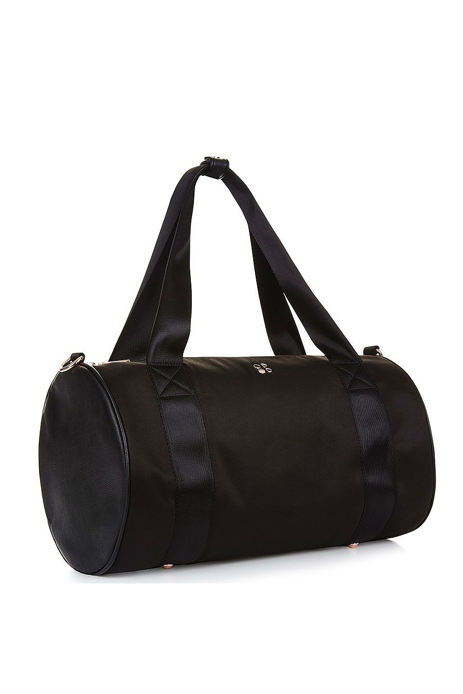 A black Sweaty Betty gym duffel bag