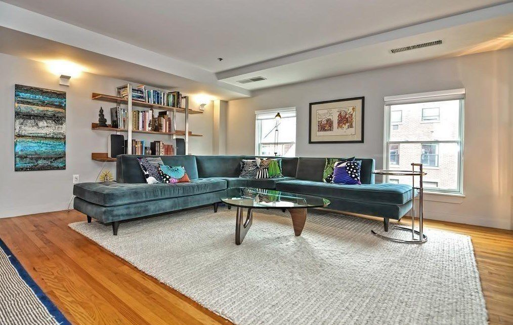 An open living room with a sectional couch.