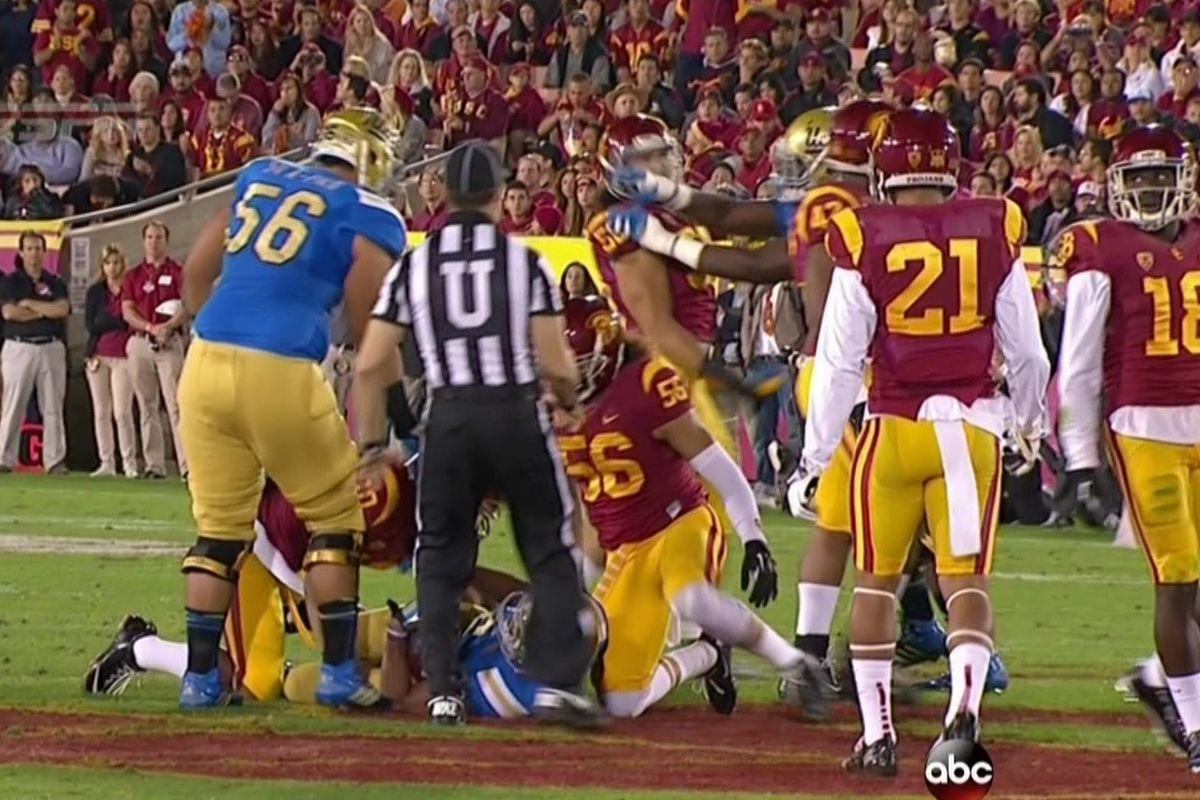 online store 24e72 36fc1 UCLA's Caleb Benenoch punches USC player, is ejected ...