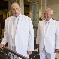 President Thomas S. Monson and Kent F. Richards, of the Seventy and director of the church's temple department pause for a moment prior to entering the temple as they rededicate the Ogden temple Sunday.
