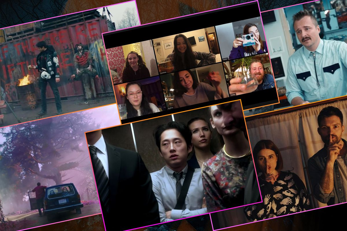 Graphic grid of six images from horror movies on the Shudder network