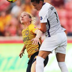 Utah Royals FC forward Amy Rodriguez (8) and Orlando defender Ali Krieger (11) battle for the ball as Utah Royals and the Orlando Pride play at Rio Tinto Stadium in Sandy on Wednesday, May 9, 2018.
