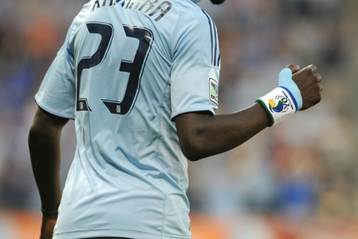 Kei Kamara scored late to steal a win for SKC in just one of this past weekends MLS games. Mandatory Credit: John Rieger-US PRESSWIRE