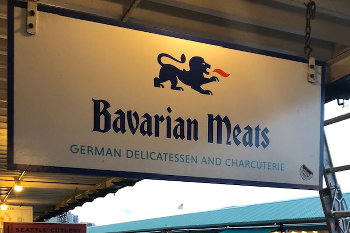 The sign outside Bavarian Meats at Pike Place Market