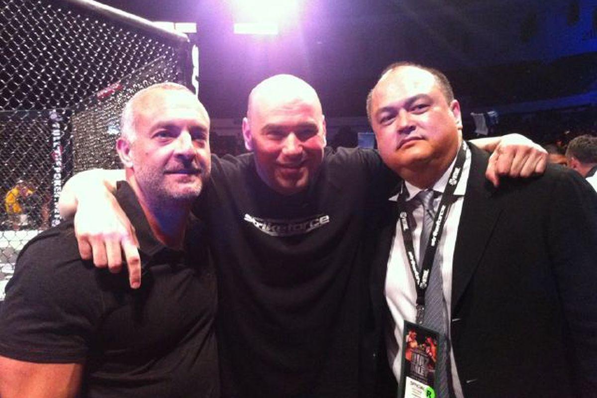 Zuffa bosses Lorenzo Fertitta, Dana White and employee Scott Coker of Strikeforce.
