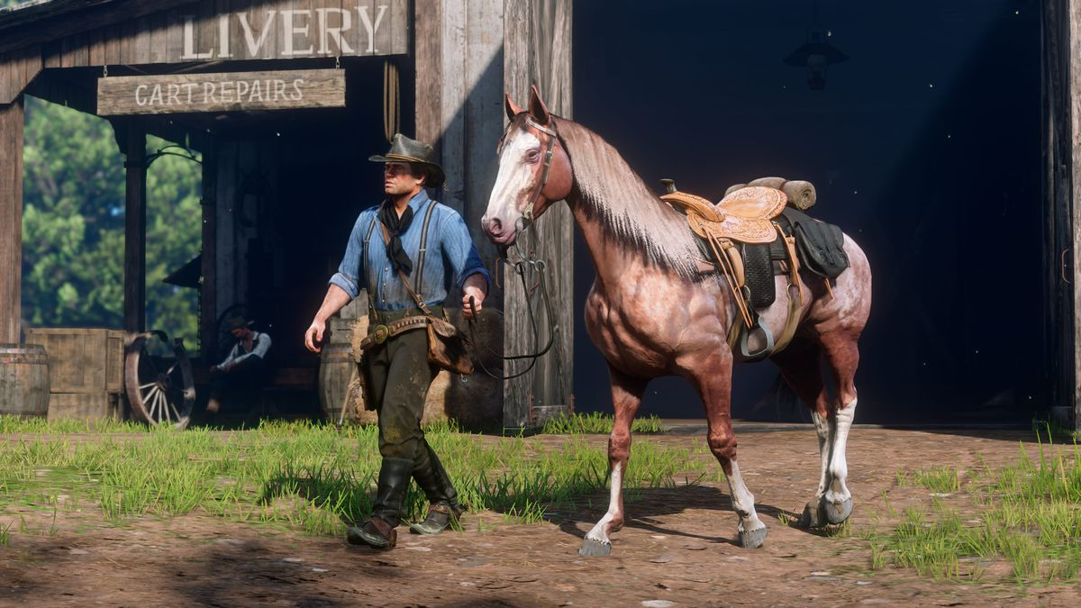 Arthur leading his horse in Red Dead Redemption 2