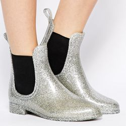 """<b>ASOS</b> Rain Boot, <a href=""""http://us.asos.com/ASOS/ASOS-GAMBLE-Jelly-Shoes/Prod/pgeproduct.aspx?iid=3727231&SearchQuery=jellie&sh=0&pge=0&pgesize=36&sort=-1&clr=Silver"""">$37.63</a>"""