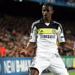 Chelsea's Brazilian Ramires reacts after scoring during a Champions League 2nd leg semifinal soccer match between FC Barcelona and Chelsea at the Camp Nou, in Barcelona, Spain, Tuesday, April 24, 2012. (AP Photo/Felice Calabro')