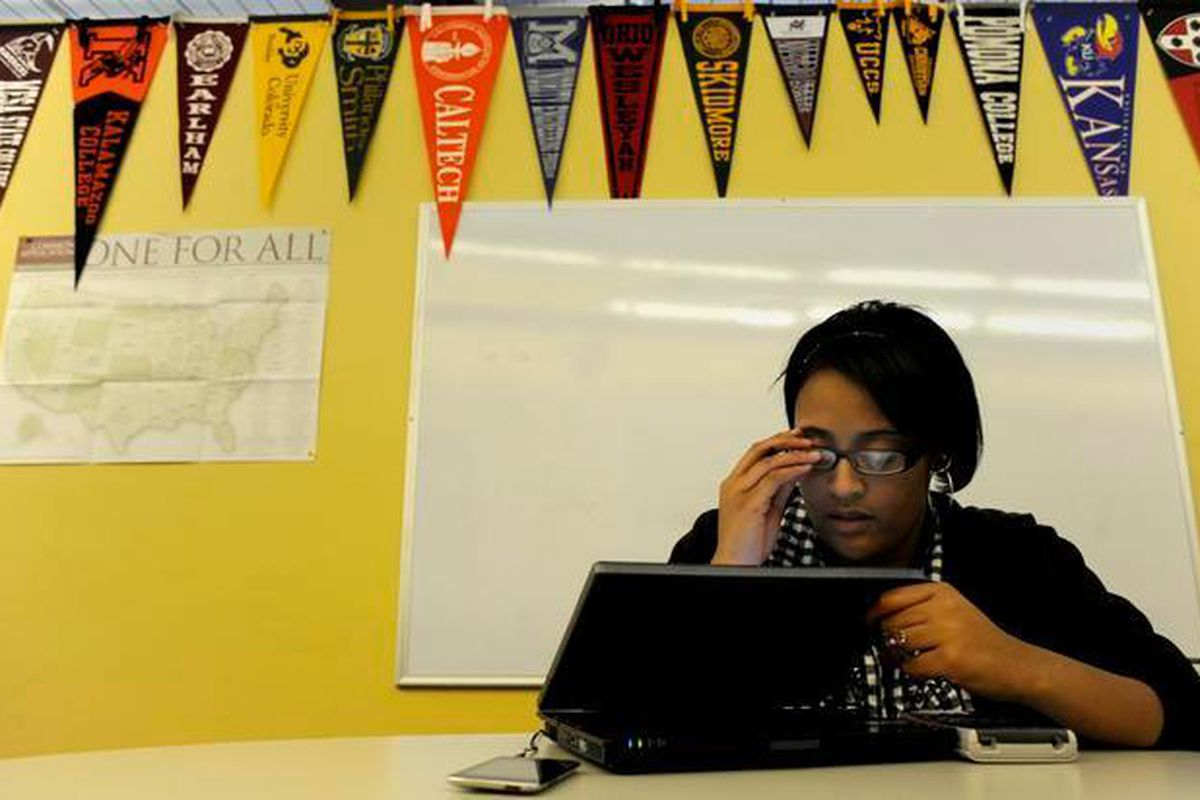 A DSST student works on homework during a study period in this 2010 photo.