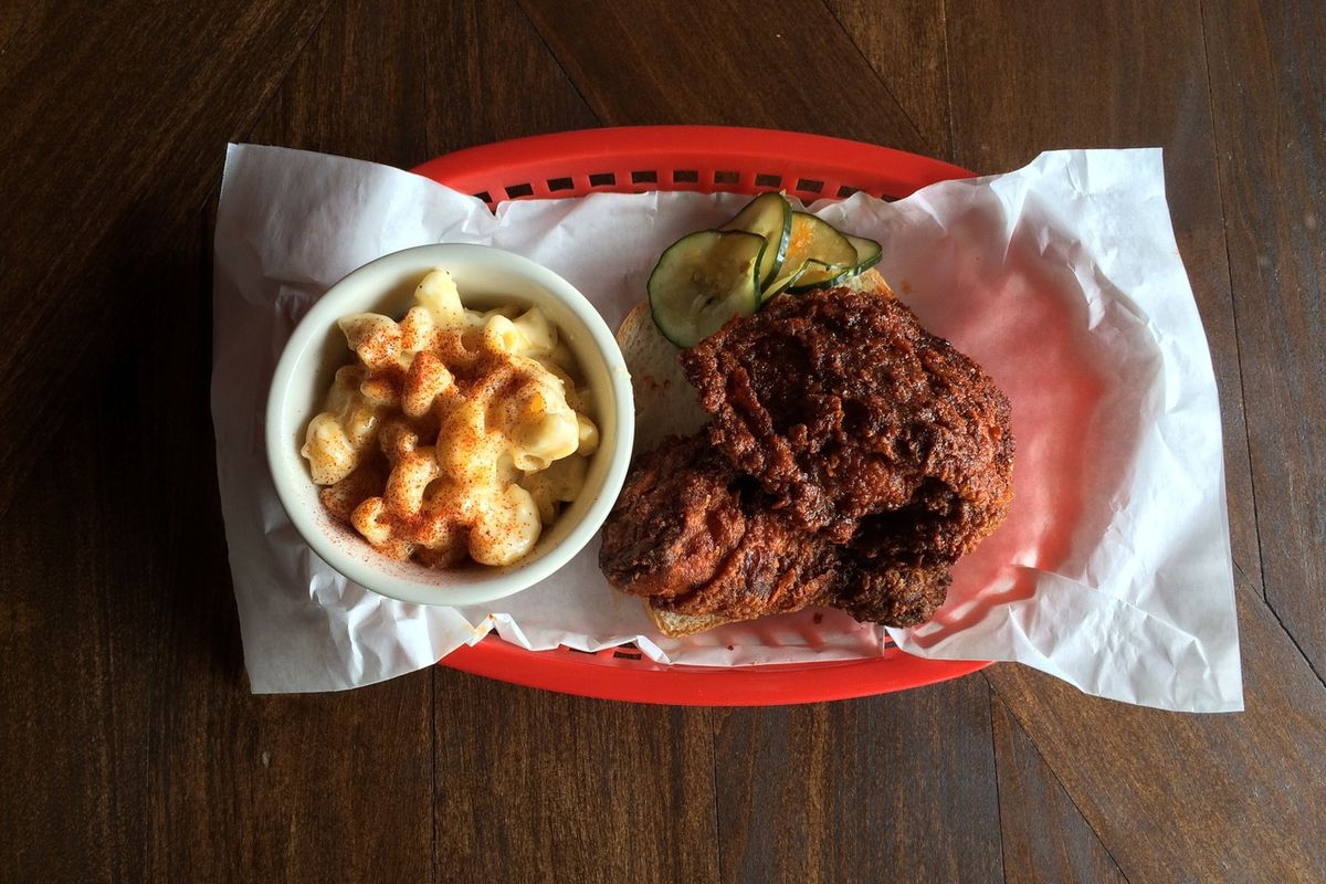 Two pieces of Nashville hot chicken from Sisters and Brothers with a side of mac 'n' cheese.