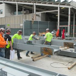 2:21 p.m. Framework sections being laid out on Sheffield -