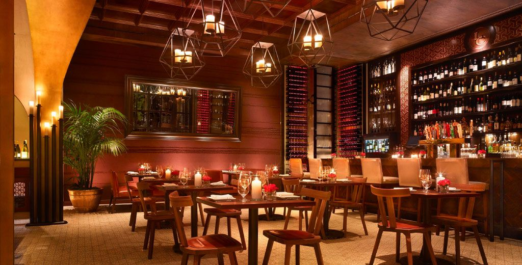 Deep red and brown restaurant interior