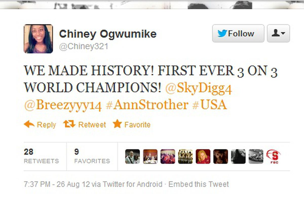 """<a href=""""https://twitter.com/Chiney321/status/239884240496496640"""" target=""""new"""">Chiney Ogwumike tweets</a> after winning 3x3 world championship"""
