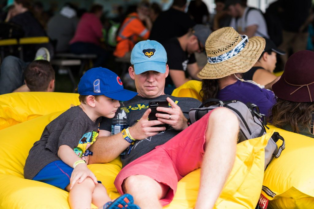 Stephen Whatley and his son Jack from Rogers, Arkansas, at the Pokémon Go Fest. | Max Herman/Sun-Times