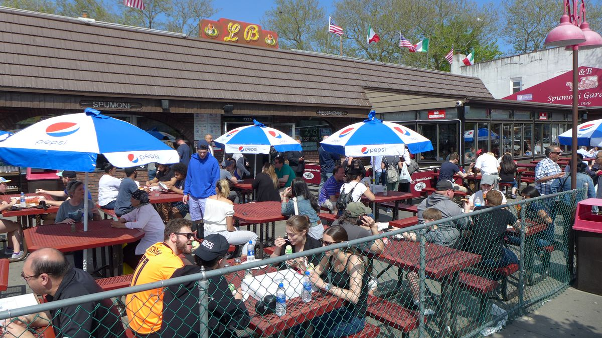 Nothing better than sitting outside at L & B Spumoni Gardens on a sunny day.