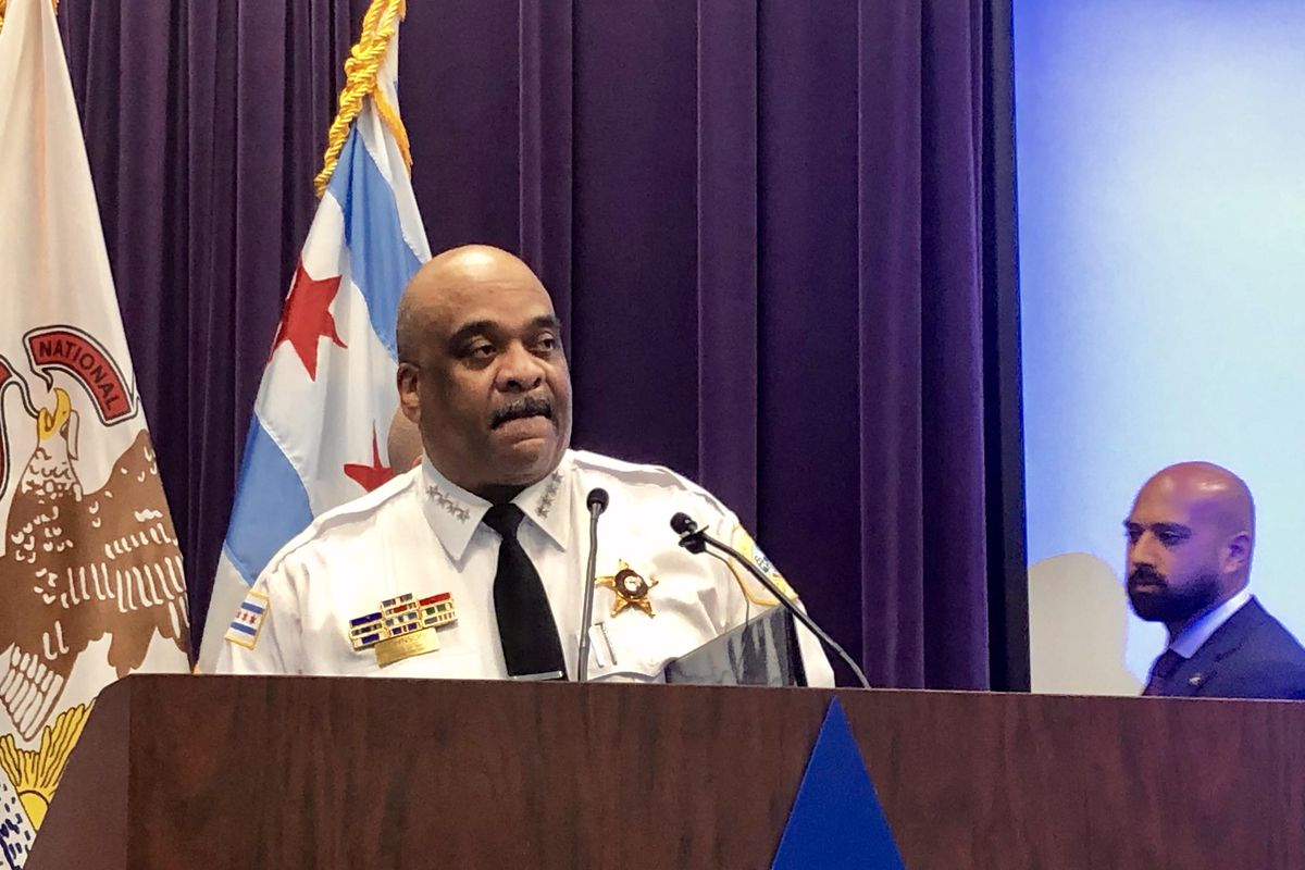 """Police Supt. Eddie Johnson unveils the """"Gun Offender Dashboard"""" Monday at a news conference at police headquarters."""