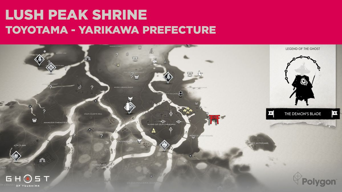 The location of Lush Peak Shrine in Ghost of Tsushima