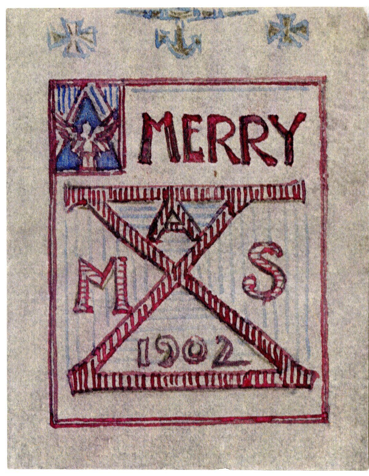 A hand-drawn Christmas card by Bernard Maybeck reads: Merry Xmas 1902.
