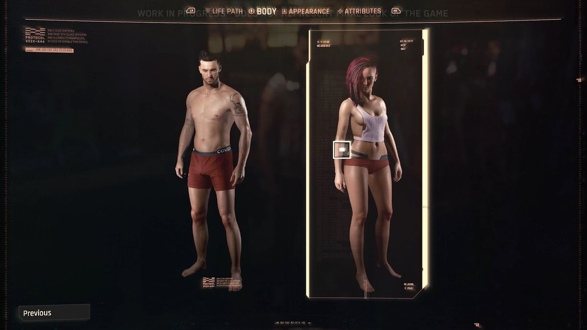 Two character models, one traditionally male and the other female, stand in their underwear on the character creation screen. Cyberpunk 2077 gameplay reveal, Aug. 2019.
