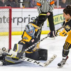 Brianne McLaughlin stop Rebecca Russo during the Breakaway Challenge at the 2017 NWHL All-Star Game in Pittsburgh