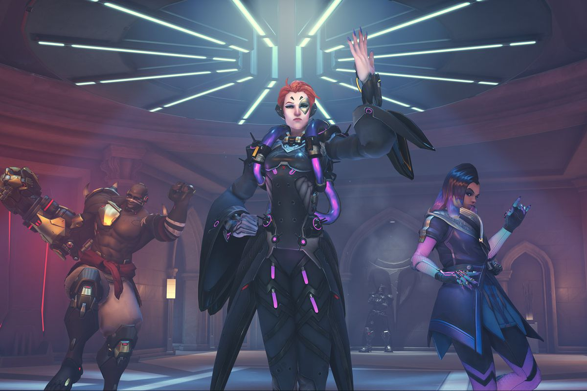Doomfist, Moira and Sombra dance in a screenshot from Overwatch