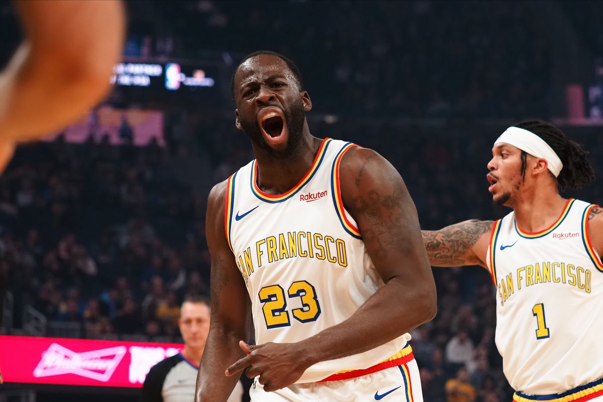 Golden State Warriors forward Draymond Green reacts after a call against the Minnesota Timberwolves during the first quarter at Chase Center.
