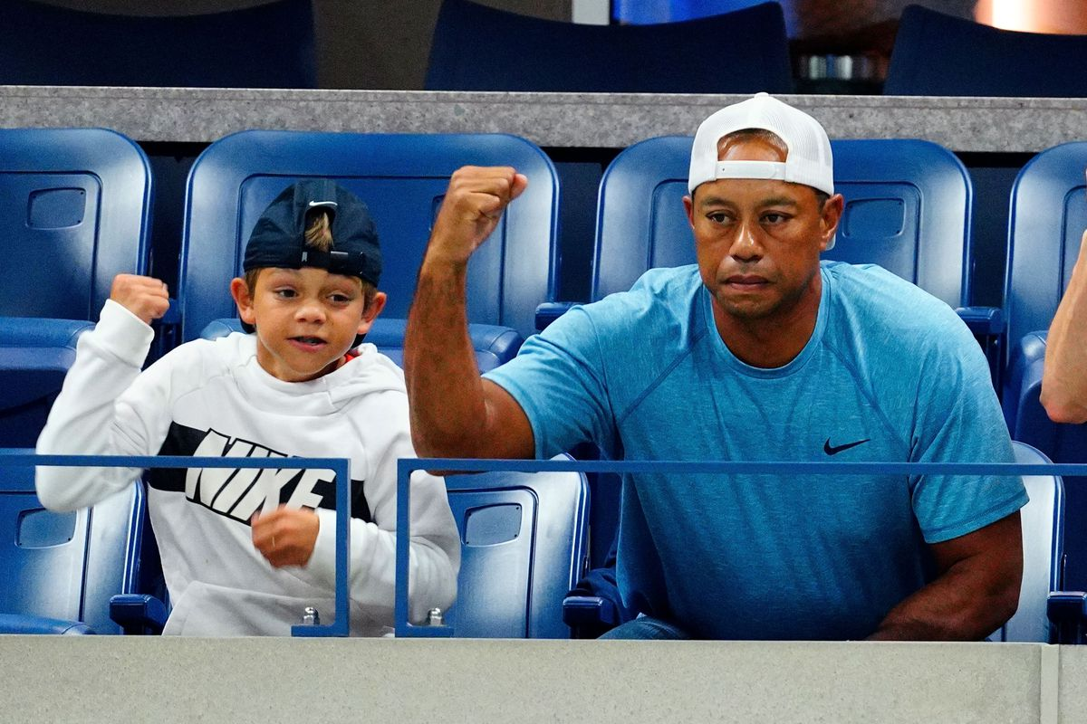Charlie Axel Woods and Tiger Woods are seen at The 2019 US Open Tennis Championships on September 03, 2019 in New York City.