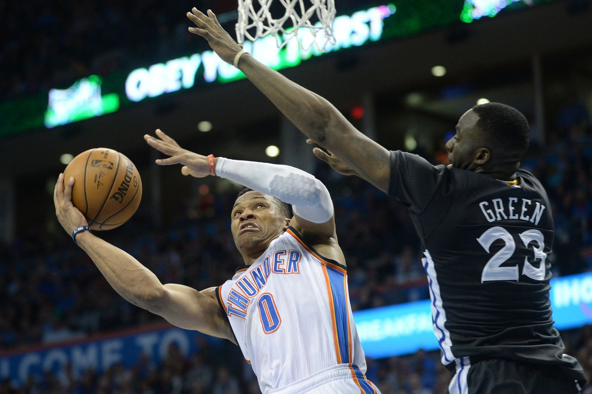 Russell Westbrook makes the best faces while driving to the basket.