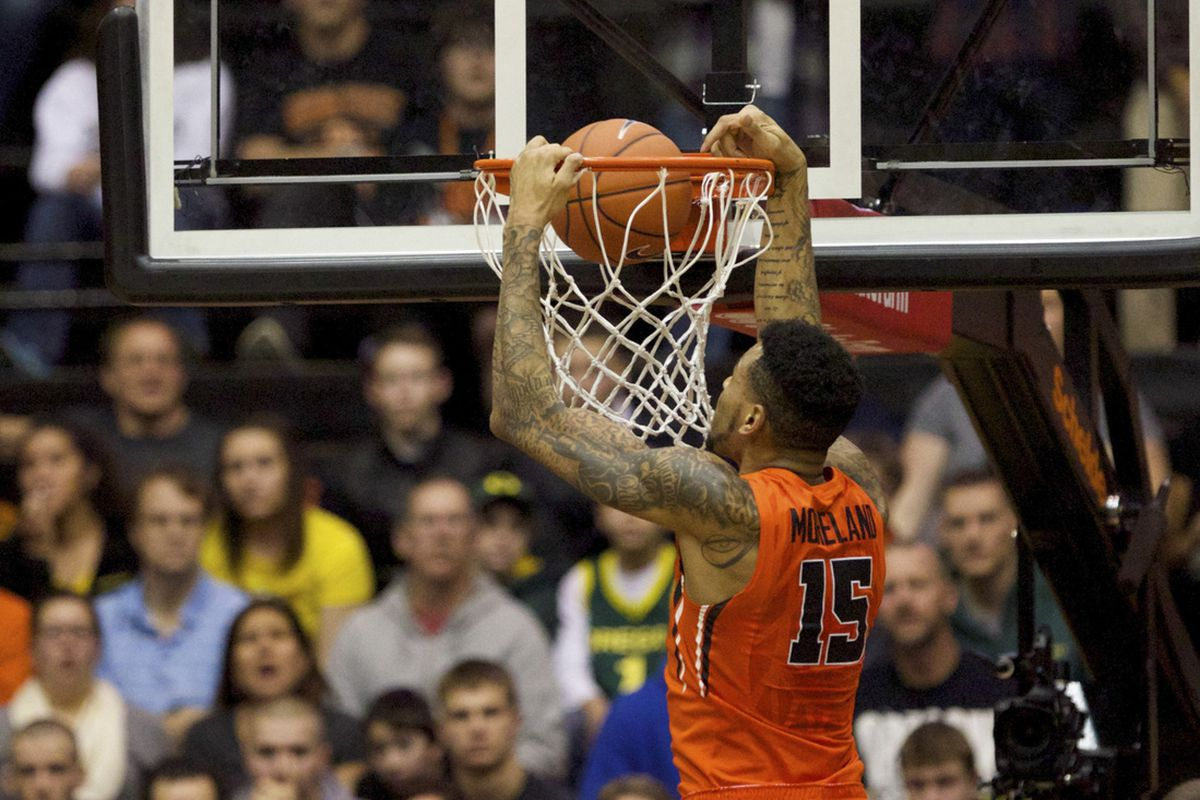 Eric Moreland helped lead Oregon St. past Oregon in the 340th Civil War with points, rebounds, and blocks.