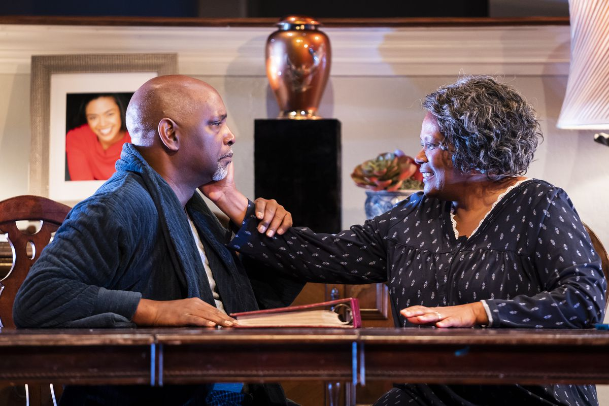 """Pastor Jones (David Alan Anderson) must come to terms with the loss of a child and the Alzheimer's disease that is stealing his wife Ruth (Celeste Williams) in """"The First Deep Breath"""" at Victory Gardens Theater."""