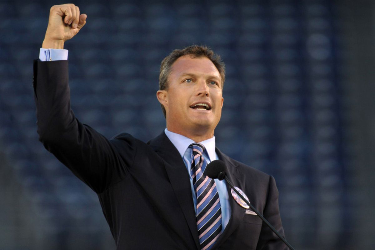 May 10, 2012; San Diego, CA, USA; Tampa Bay Buccaneers and Denver Broncos former safety John Lynch speaks at the Celebration of Life for Junior Seau at Qualcomm Stadium. Mandatory Credit: Kirby Lee/Image of Sport-US PRESSWIRE