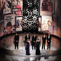 Jon Cryer, left, Anthony Michael Hall, Molly Ringwald, Judd Nelson, Ally Sheedy, Macaulay Culkin and Matthew Broderick pay tribute to the late director John Hughes at the 82nd Academy Awards on Sunday.