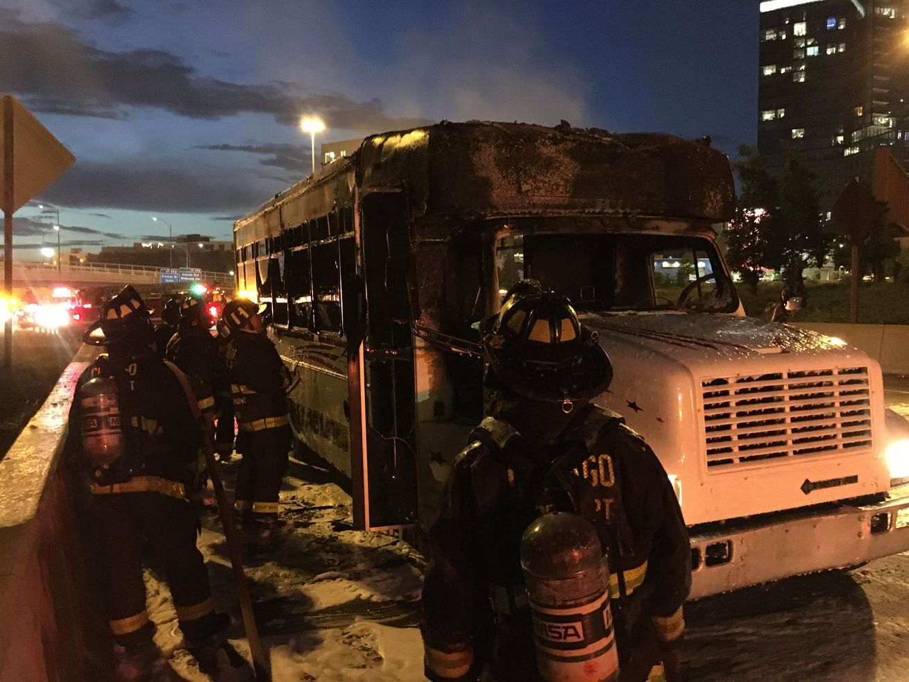 Party bus catches fire on Kennedy Expressway