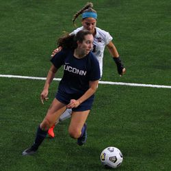 UConn's Peyton Pettiford-Rowan #14 during the UMass Minutewomen vs the UConn Huskies at Morrone Stadium at Rizza Performance Center in an exhibition women's college soccer game in Storrs, CT, Monday, August 9, 2021.