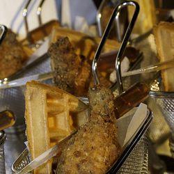 Chicken and waffles at Bacchanal Buffet.