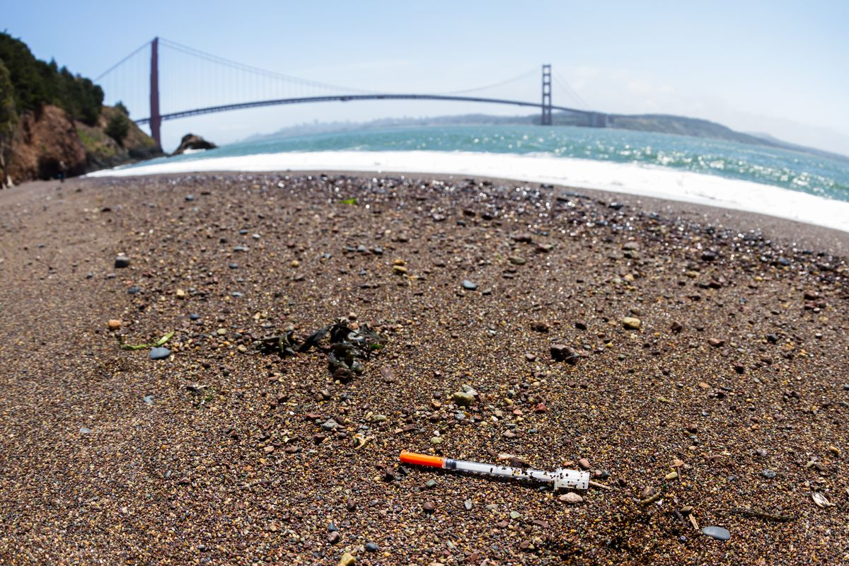 Syringe found on the shores of San Francisco.
